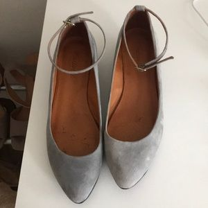 Madewell Ankle Strap Mini Wedge Gray Size 8.5
